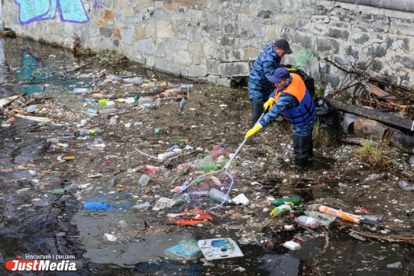 Деревья, шины и даже телефоны: в Екатеринбурге приступили к уборке городского пруда