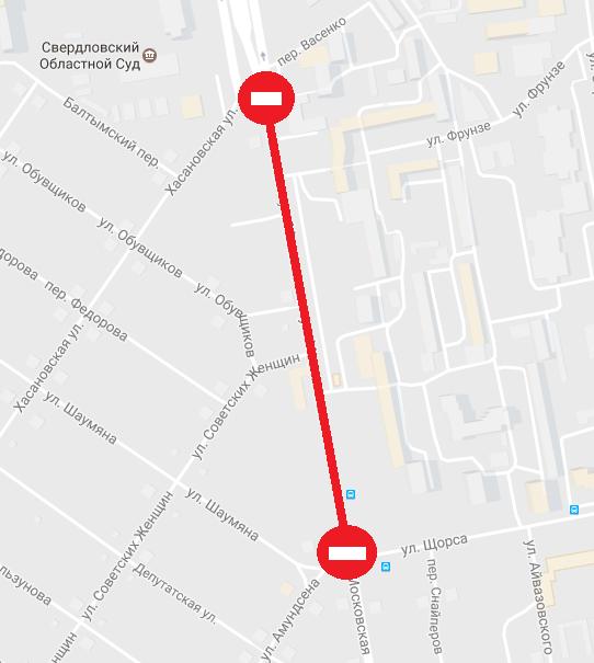 ВЕкатеринбурге из-за ремонта Московской изменят маршруты автобусов