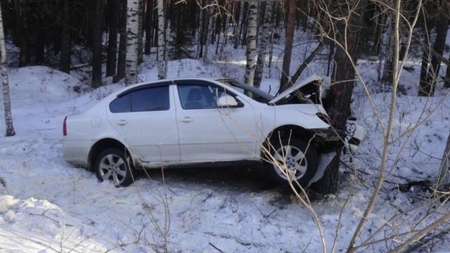 На Серовском тракте из-за колеи и старых шин Skoda намотало на дерево. Пострадали три человека. ФОТО