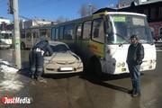 На кольце у Центральной гостиницы из-за ДТП с автобусом встали троллейбусы