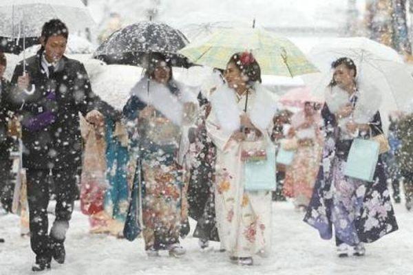 В столице Японии неожиданно выпал снег и установилась зимняя погода
