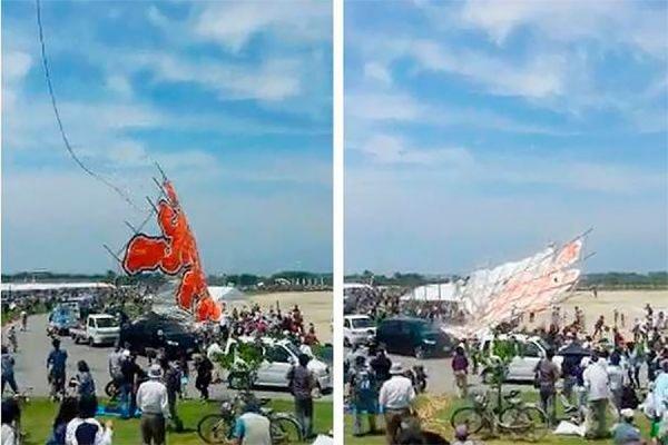 В Японии воздушный змей весом 700 кг рухнул на толпу зрителей, покалечив четырех человек