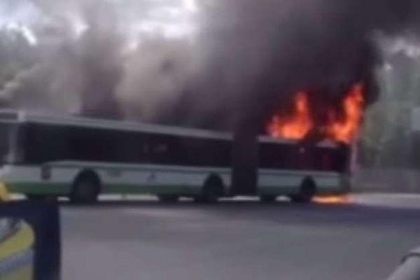 Пассажирский автобус сгорел в аэропорту Шереметьево