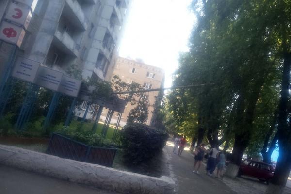 На Коминтерна огромная ветка отломилась от дерева и повисла над тротуаром