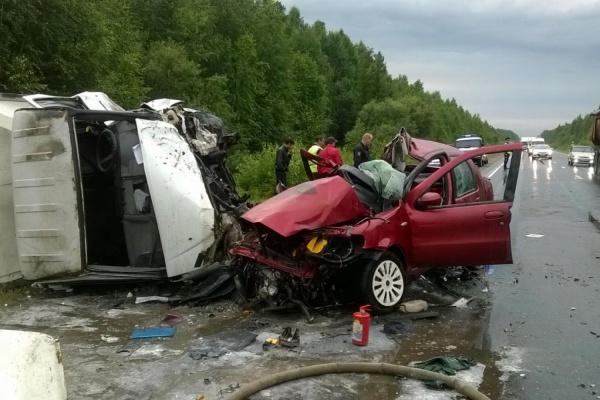 Под Новой Лялей иномарку, столкнувшуюся с грузовиком, разорвало на части