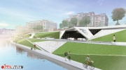 Вид набережной на Горького будет перекликаться с «Ананасом» Фостера. Обновленным берег Исети предстанет в сентябре 2016 года