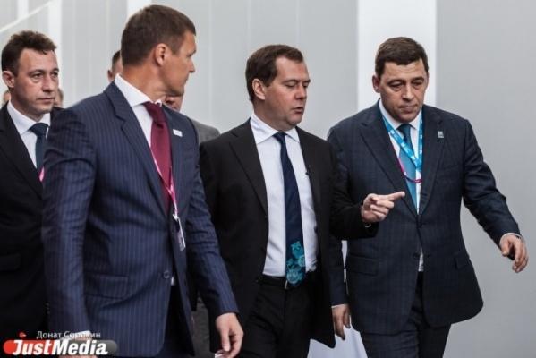 Дмитрий Медведев встретился с Евгением Куйвашевым на выставке «ИННОПРОМ-2016»