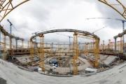 На Центральном стадионе закончено строительство опор для крыши