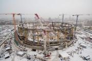 На Центральном стадионе завершили монтаж опорного кольца крыши