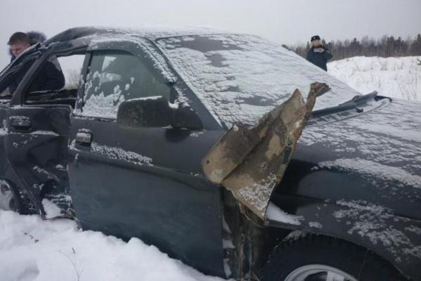 Под Алапаевском пьяный водитель «десятки», врезавшись в столб, ушатал пассажира. ФОТО
