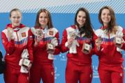Евгения Захарова (на фото - слева) в составе эстафетной четверки сборной России. Источник: krsk2019.ru